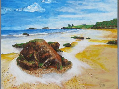 Shelly Beach Emu Park painting by Jeff Quigley