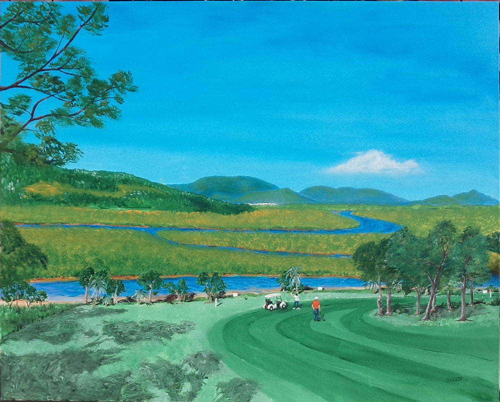 "Painting currently displayed at the Emu Park Art Gallery. (from Tues 11/7/2017) New Painting. One for the Golfers or lovers of Emu Parks Coorooman Creek – This one is title ""King Tide at Coorooman from the 6th"". Acrylic on canvas. Unframed - Large paintin 1010cm x 76cm. Price $400.00 I finished 'King Tide' early July 2017 - artist Jeff Quigley"