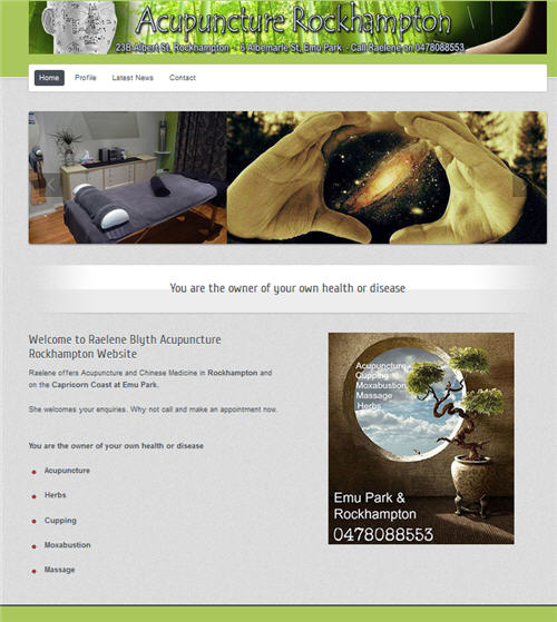 Acupuncture Rockhampton and Emu Park website by Studioquigs.