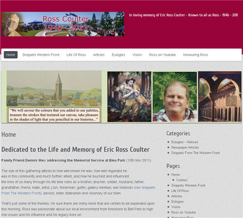 Ross Coulter Memorial Website by Studioquigs
