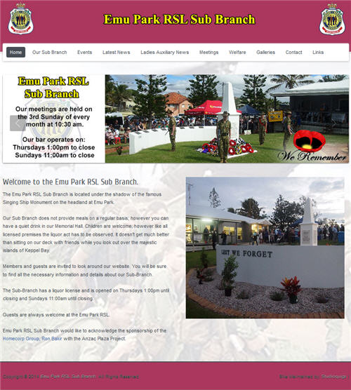 Website for the Emu Park RSL Sub Branch by Studioquigs