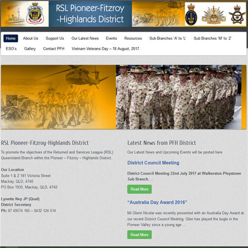 RSL Pioneer-Fitzroy-Highlands District website by Jeff Quigley Studioquigs