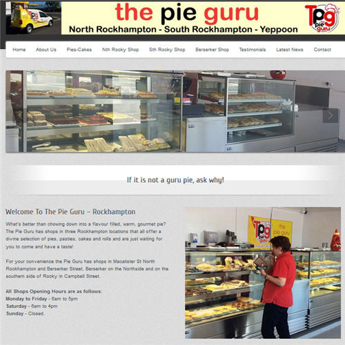 The Pie Guru - Rockhampton website by Studioquigs