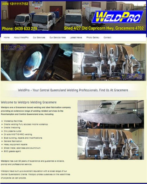 Weldpro Gladstone website by Studioquigs