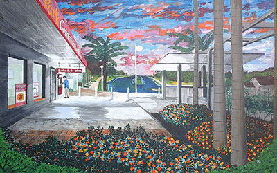 at the atm painting by emu park artist Jeff Quigley