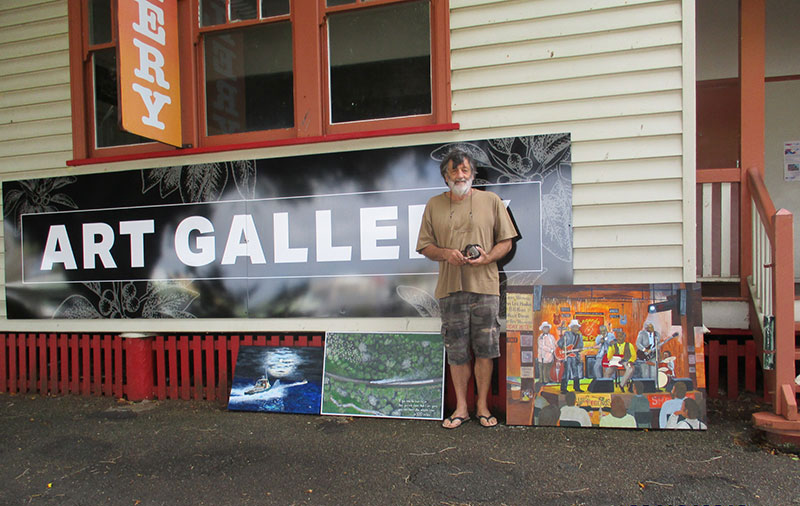 Emu Park Artist Jeff Quigley outside of the Mill Gallery Yeppoon
