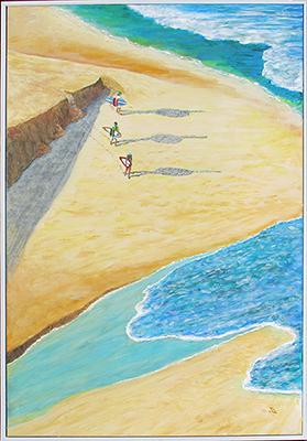jeff quigley artist emu park latest painting surf trek